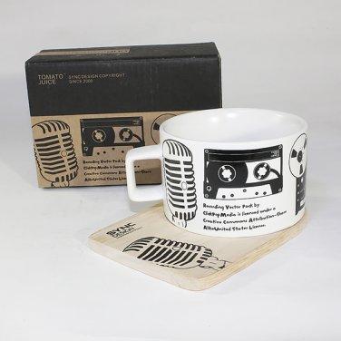 SYNC-TC023 [Recording Studio] Espresso Cup / Wood Coaster (2.5 inch height)