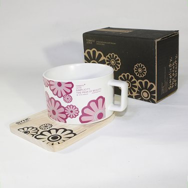 SYNC-TC028 [Flower Pink] Espresso Cup / Wood Coaster (2.5 inch height)