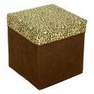 SB-31-SQU[Leopard Spots] Square Foldable Storage Ottoman / Storage Boxes / Storage Seat