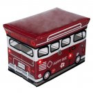SB-BUS-1[Happy Bus - Red] Rectangle Foldable Faux Leather Storage Ottoman / Storage Boxes