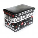 SB-BUS-3[Happy Bus - Black] Rectangle Foldable Faux Leather Storage Ottoman / Storage Boxes