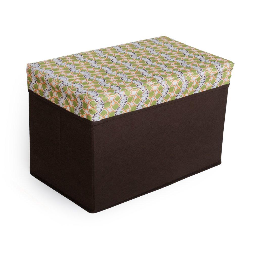 SB-N118-REC[Petal - Green & White] Rectangle Foldable Storage Ottoman / Storage Boxes
