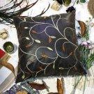 BETTINO-FJ-001 [Chocolate Gold Vine] Decorative Pillow Cushion/Floor Cushion(23.6 by 23.6 inches)