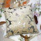 BETTINO-FJ-006 [Silver Beige Rose] Decorative Pillow Cushion / Floor Cushion (23.6 by 23.6 inches)
