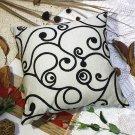 BETTINO-FJ-023 [Black Swirl] Decorative Pillow Cushion / Floor Cushion (23.6 by 23.6 inches)
