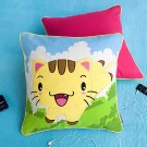 ONITIVA-DP002 [Kitty Meow] Embroidered Applique Pillow Cushion  (19.7 by 19.7 inches)
