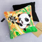 ONITIVA-DP005 [Kung Fu Panda] Embroidered Applique Pillow Cushion  (19.7 by 19.7 inches)