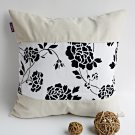 ONITIVA-DP030 [Floral Wedding] Linen Patchwork Pillow Cushion Floor Cushion (19.7 by 19.7 inches)