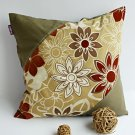 ONITIVA-DP031 [Floral Heart] Linen Patchwork Pillow Cushion Floor Cushion (19.7 by 19.7 inches)