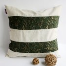 ONITIVA-DP032 [Green Lake] Linen Patchwork Pillow Cushion Floor Cushion (19.7 by 19.7 inches)