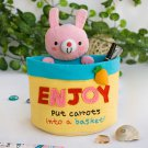 KT-HX-21-RABBIT [Rabbit & Carrots] Embroidered Applique Wall Organizer/Hanging Organizer(6*7*3.5)