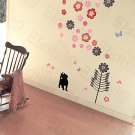 HEMU-HL-5810 Cat & Flowers - Large Wall Decals Stickers Appliques Home Decor