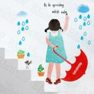 HEMU-HL-5832 Rainy Girl - Large Wall Decals Stickers Appliques Home Decor