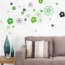 HEMU-HL-5841 Green Petals - Large Wall Decals Stickers Appliques Home Decor