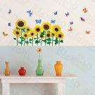 HEMU-HL-966 Sunflowers & Butterflies 2 - Wall Decals Stickers Appliques Home Decor