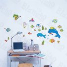 HEMU-LD-8084 Jumping Dolphins - Wall Decals Stickers Appliques Home Decor