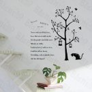 HEMU-LD-864 Poetry Cat - Wall Decals Stickers Appliques Home Decor 12.6 BY 23.6 Inches