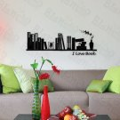 HEMU-TC-2089 I Love Book - Large Wall Decals Stickers Appliques Home Decor 19.7 BY 27.5 Inches