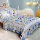 QTS-WB8017-4 [Bubble Ocean] Cotton 3PC Patchwork Quilt Set (King Size)