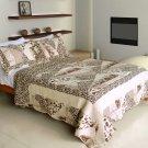 QTS-WB8033-23 [Delicate Leopard] Cotton 3PC Patchwork Quilt Set (Full/Queen Size)