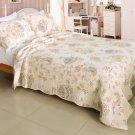 QTS-WB8039-23 [Floral Dream] Cotton 3PC Patchwork Quilt Set (Full/Queen Size)