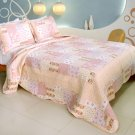 QTS-WB8057-23 [Love Blossom] Cotton 3PC Patchwork Quilt Set (Full/Queen Size)