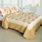 QTS-WB8078-23 [Dream Production ] Cotton 3PC Patchwork Quilt Set (Full/Queen Size)