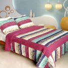 QTS-WB8085-23 [Secret Season] Cotton 3PC Patchwork Quilt Set (Full/Queen Size)