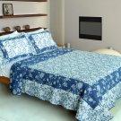 QTS-WB8105-23 [Blue River] Cotton 3PC Patchwork Quilt Set (Full/Queen Size)