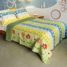 QTS-WB8118-23 [Valder Fields] Cotton 3PC Patchwork Quilt Set (Full/Queen Size)