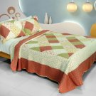 QTS-WB8130-23 [Fragrant Fields] Cotton 3PC Patchwork Quilt Set (Full/Queen Size)