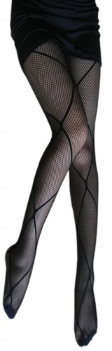 LING-HLPN15 Sexy Black Sheer Argyle Stocking Pantyhose Hosiery Ferminine