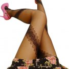 LING-LZS8610-1 Black Sheer Bowknot Lace Stocking Pantyhose Hosiery