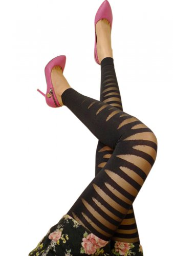LING-LZS9201-1 Black Sheer Striped Stocking Pantyhose Hosiery