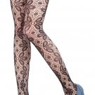 LING-LZSA007-1 Black Sheer Petal Lace Stocking Pantyhose Hosiery Ferminine