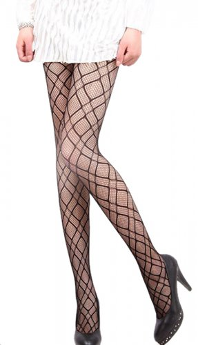 LING-LZSA009-1 Black Sheer Checkered Stocking Pantyhose Hosiery