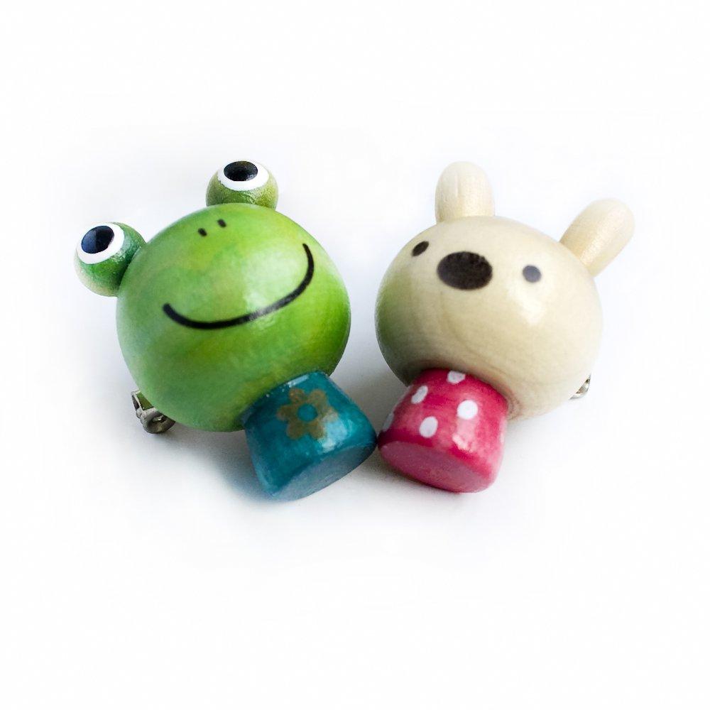 HC-BP006-FRRA[Sweet Frog & Rabbit] - Brooch / Brooch Pin / Animal Pin Brooch