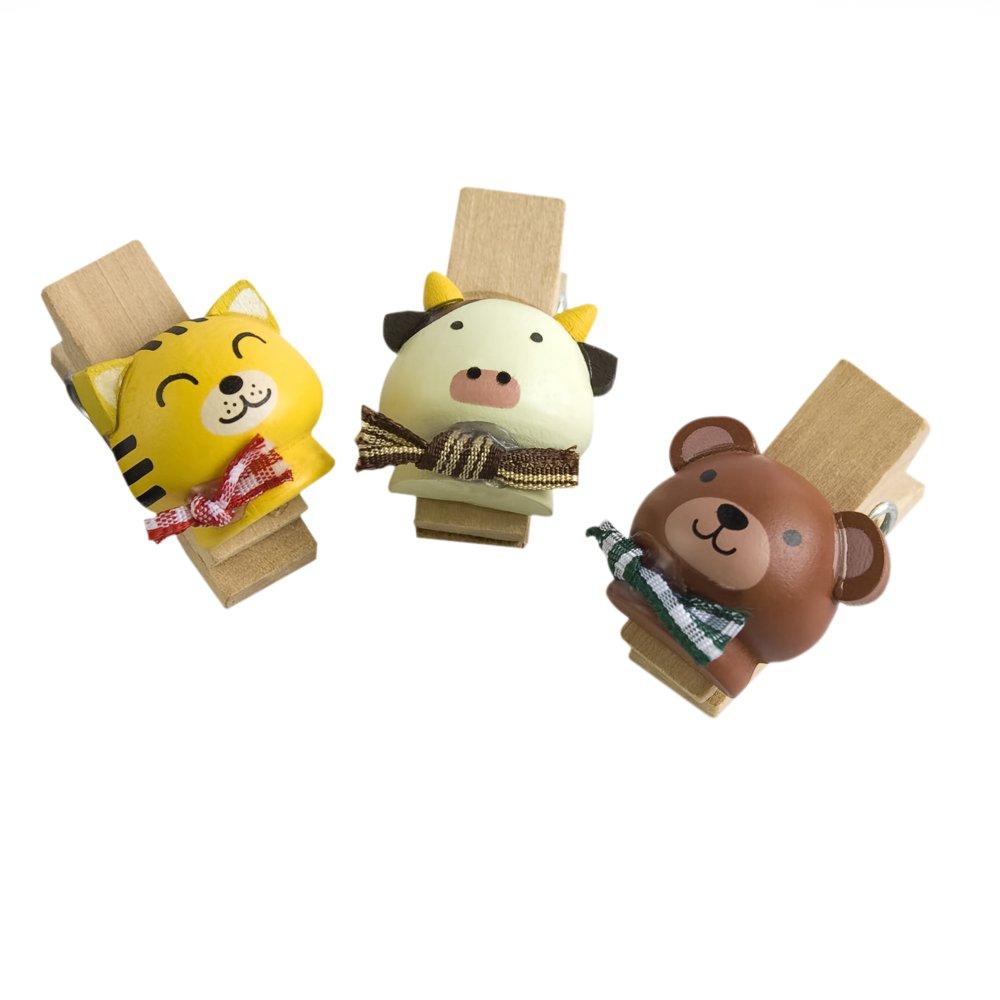 HC-WC003-A[Naughty Animals-1] - Wooden Clips / Wooden Clamps / Mini Clips