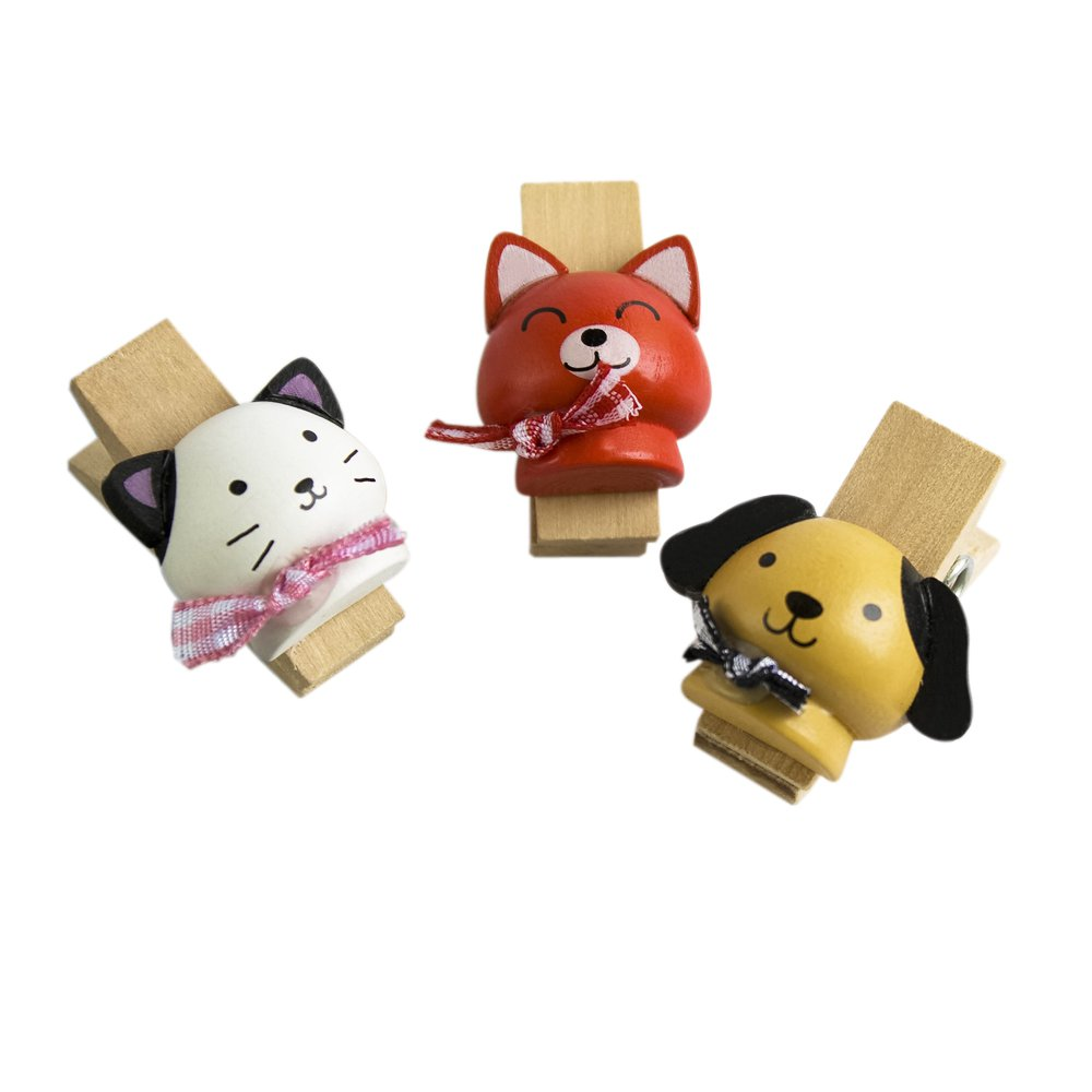 HC-WC003-C[Naughty Animals-3] - Wooden Clips / Wooden Clamps / Mini Clips