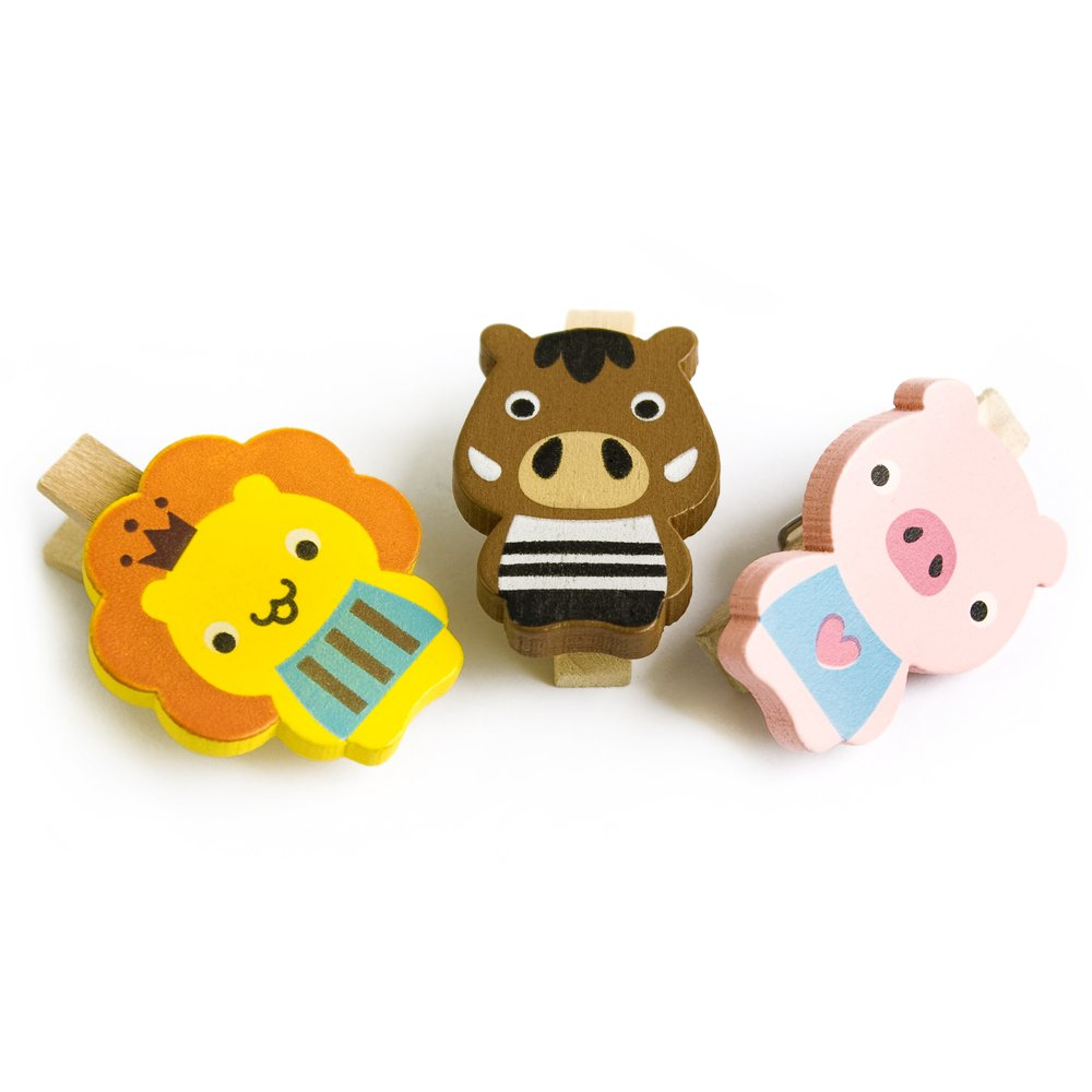 HC-WC006-A[Smile Animals-A] - Wooden Clips / Wooden Clamps / Mini Clips