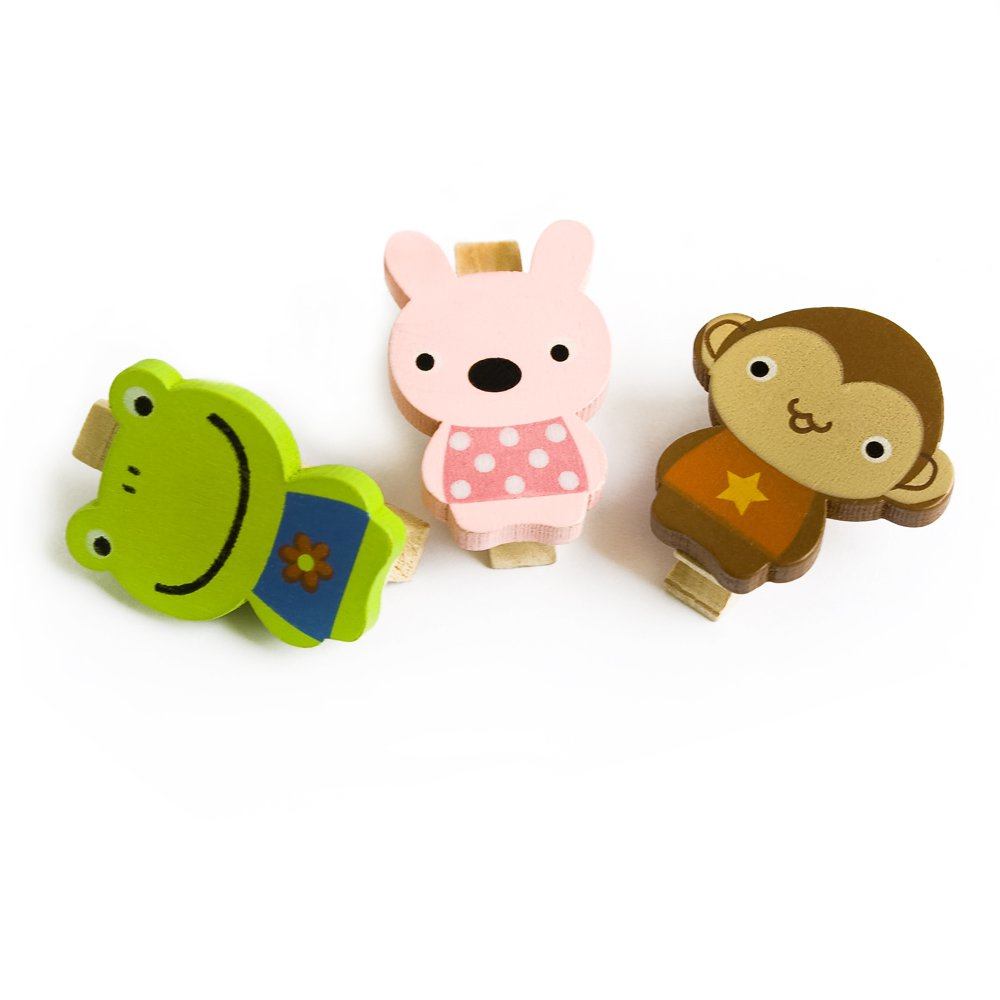 HC-WC006-C[Smile Animals-C] - Wooden Clips / Wooden Clamps / Mini Clips
