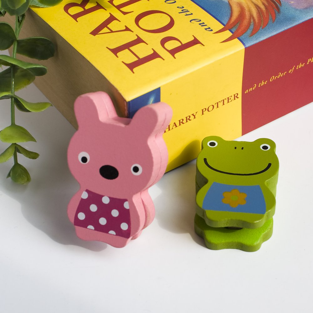 HC-CH001-FRRA[Frog & Rabbit] - Card Holder / Wooden Clips / Wooden Clamps / Animal Clips