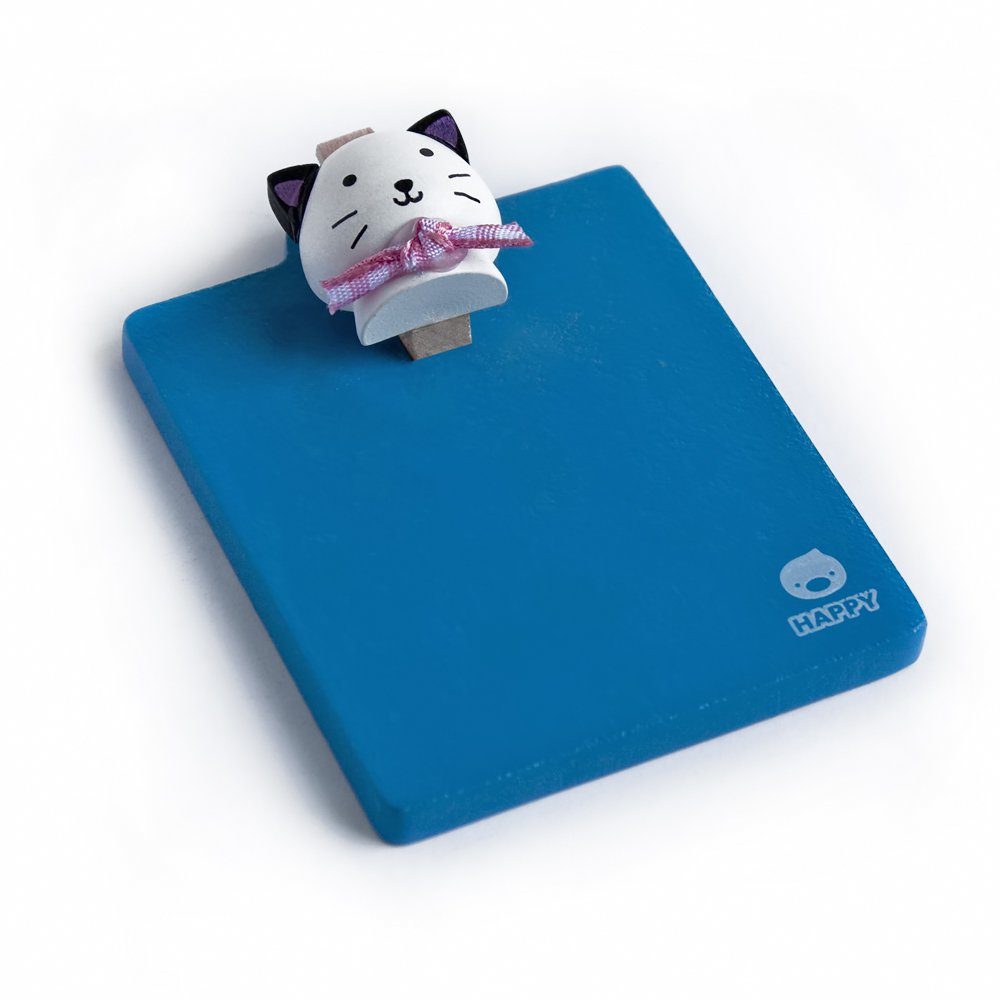 HC-RMC004-WHITECAT[Happy White Cat] - Refrigerator Magnet clip / Magnetic Clipboard