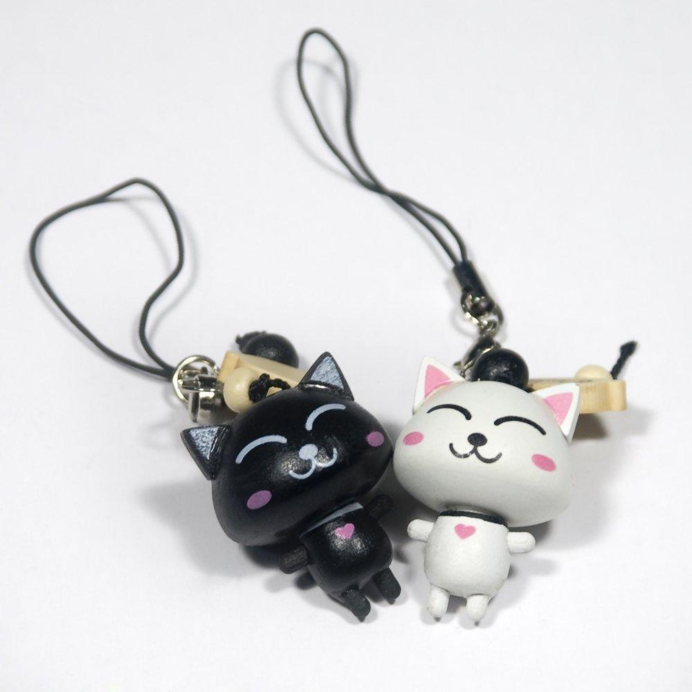 HC-C005-WHBL[Happy Cat-1] - Cell Phone Charm Strap / Camera Charm Strap / Handbags Charms