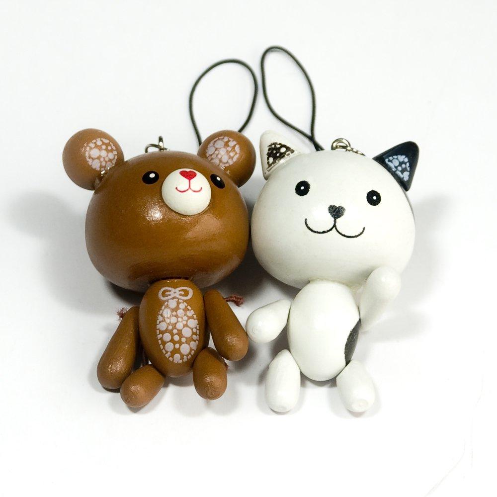 HC-C022-BRWH[Sweet Bear-2] - Cell Phone Charm Strap / Camera Charm Strap / Handbags Charms