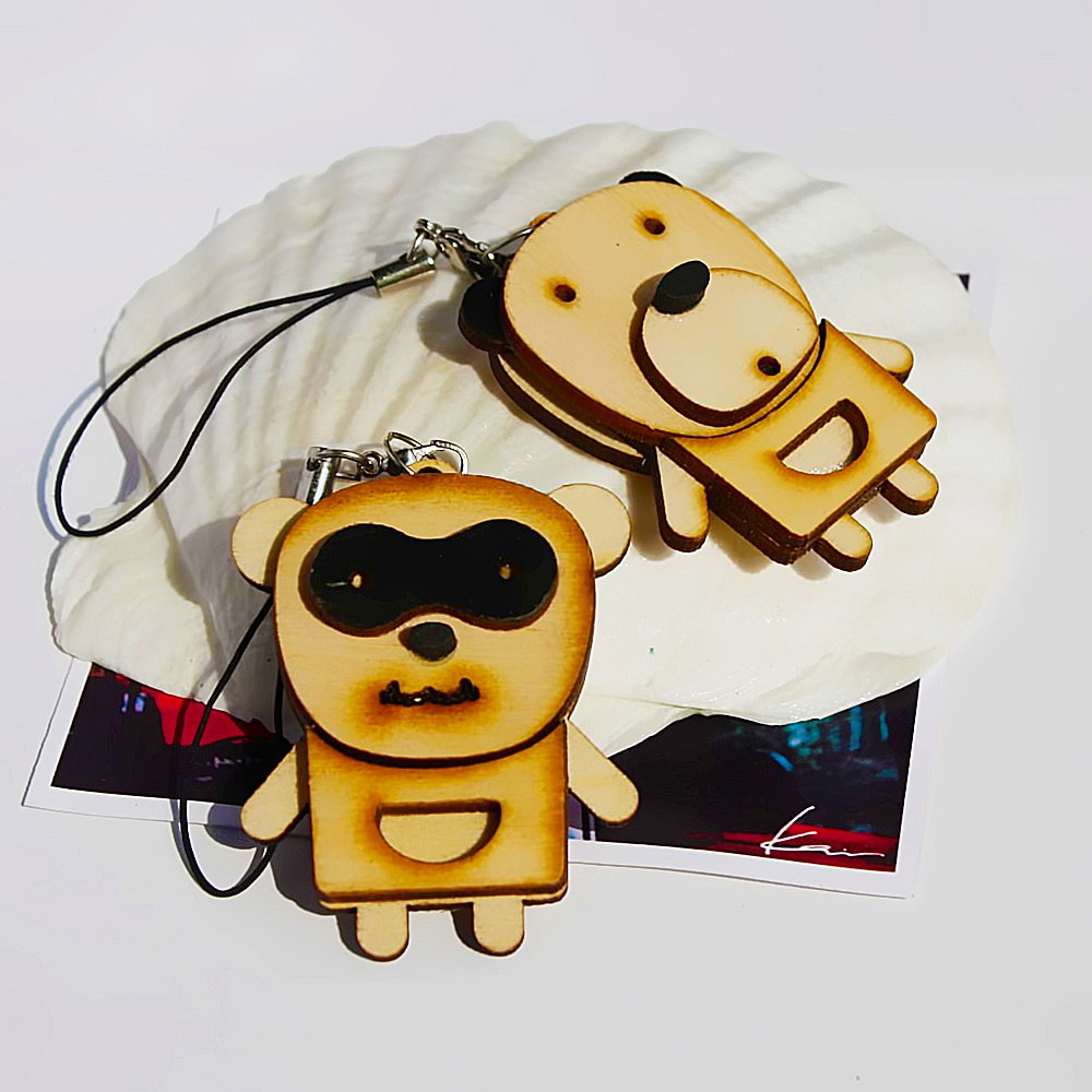 HC-C032-BBE[Wooden Animals-1] - Cell Phone Charm Strap / Camera Charm Strap / Handbags Charms