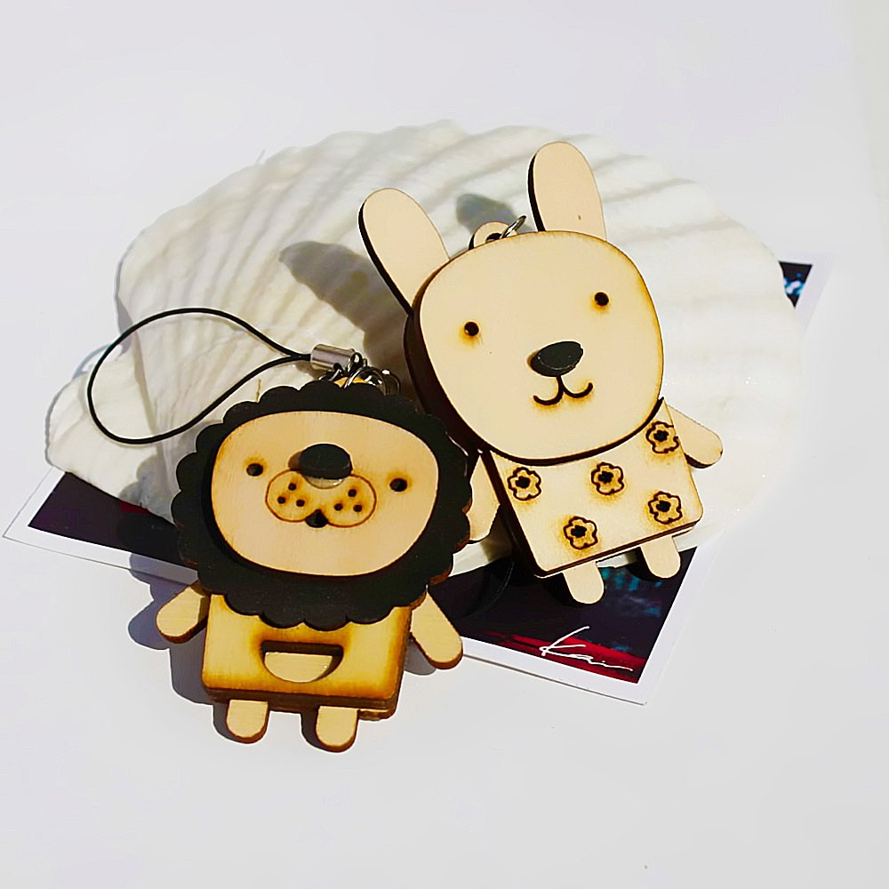 HC-C032-LIRA[Wooden Animals-2] - Cell Phone Charm Strap / Camera Charm Strap / Handbags Charms