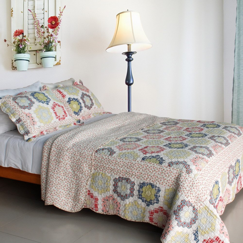 QTS-SJIN9056-23[Little Ida's Flowers] 3PC Vermicelli-Quilted Patchwork Quilt Set (Full/Queen Size)
