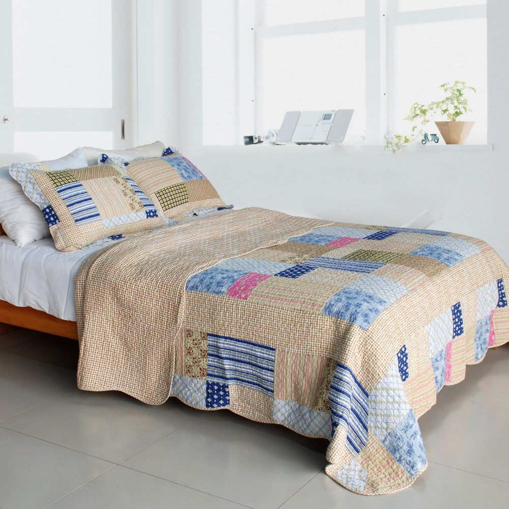 QTS-SJIN9162-23[Classic Plaids] 3PC Vermicelli-Quilted Patchwork Quilt Set (Full/Queen Size)