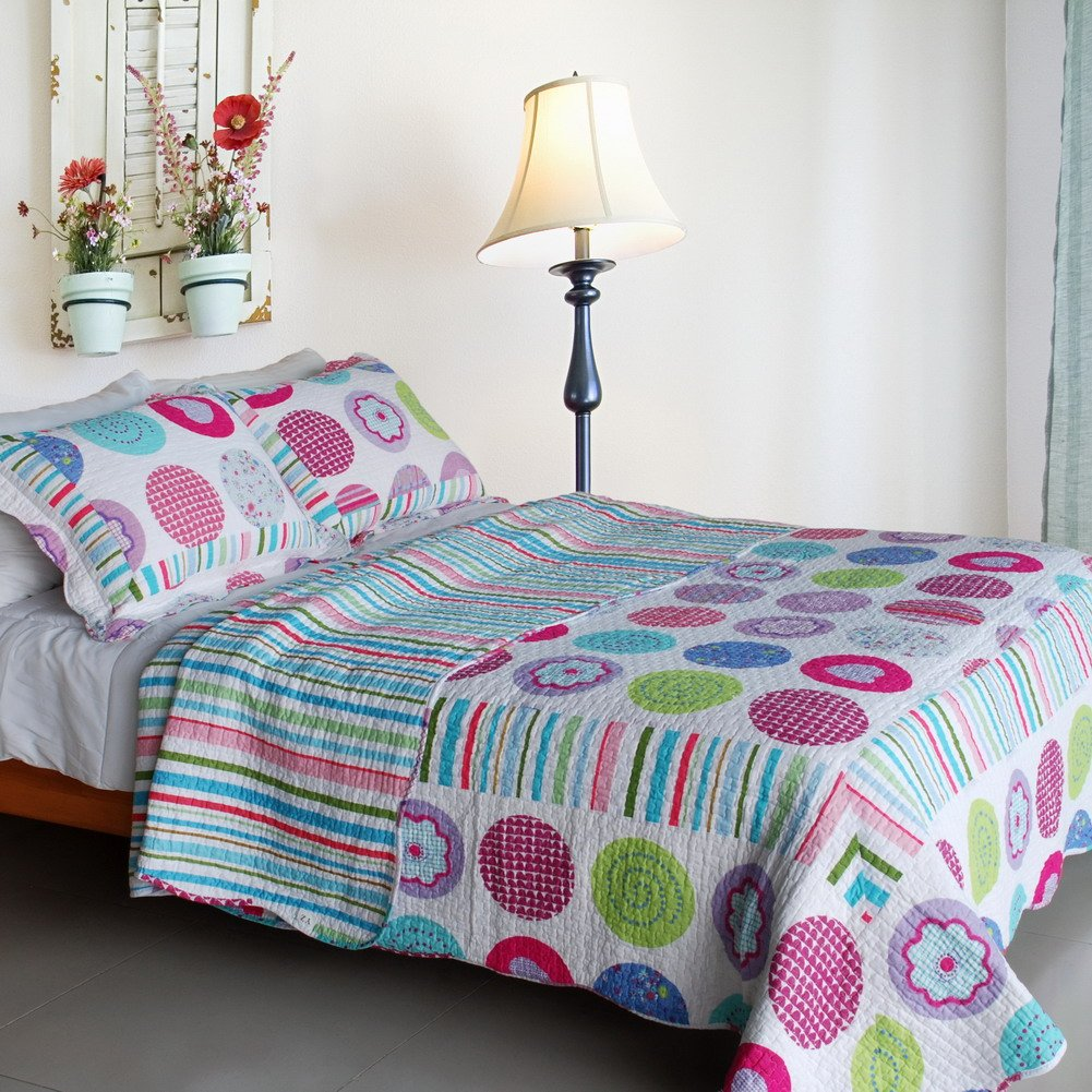 QTS-SJIN9183-23[Tropical Bubbles] 3PC Vermicelli-Quilted Patchwork Quilt Set (Full/Queen Size)